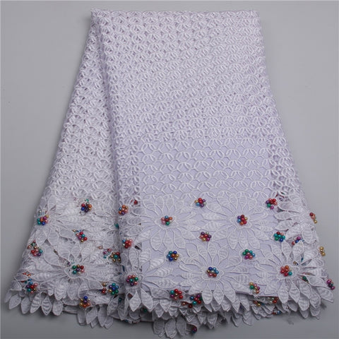 Image of African lace fabric 2018 high quality lace For Dress guipure lace alibaba express With Beads nigerian lace fabrics AMY212B-2