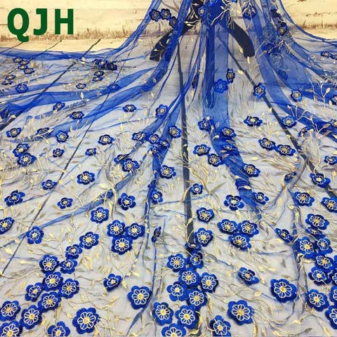Image of 5yards/lot QJH Brand Stereoeffect Embroidery African French Lace Net Tulle Fabric With Guipure Lace borders High quality