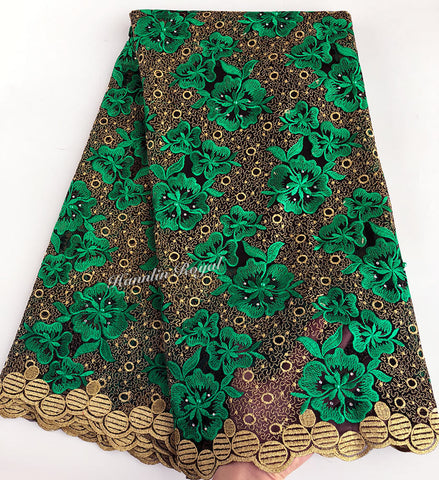 Image of Green Gold allover embroidery genuine french lace Swiss lace African tulle fabric very beautiful good choice 5 yards/pc