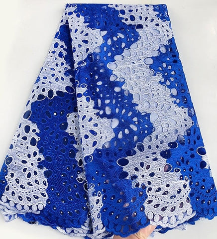 Image of 5 yards 2 tunes African tulle lace french lace fabric matching Aso Oke headtie gele headgear high quality Hot sale