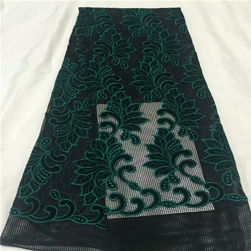 Latest African Lace Fabric 2018 High Quality Purple Velvet Lace Green Sequin Lace Cotton Dresses For Evening Dresses CD225