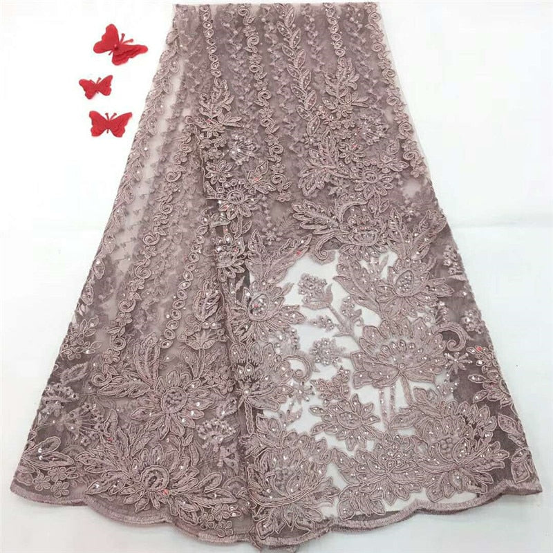 Pink African lace fabric,embroidered flower net lace,high quality Nigerian lace fabric with stone for wedding dress H1181