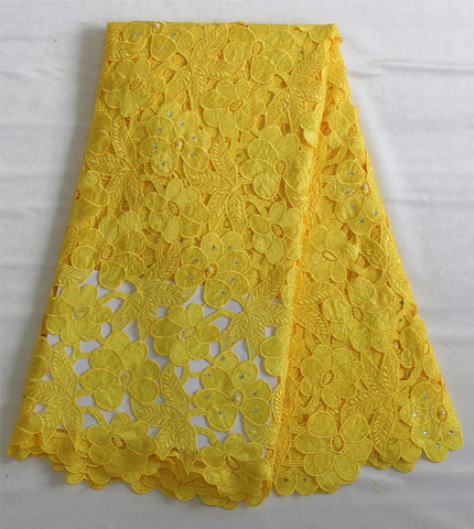 Image of Free Shipping yellow high quality guipure Lace fabric/african cord lace/water soluble lace nice african lace fabric XZ722c-1