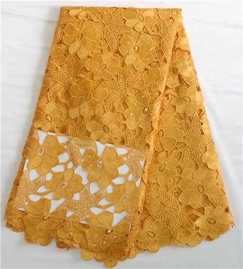 Free Shipping yellow high quality guipure Lace fabric/african cord lace/water soluble lace nice african lace fabric XZ722c-1