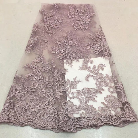 Image of 2018 high quality nigerian french lace embroidered tulle lace fabric for wedding dress,Russia African lace fabric 5yards/lotF195