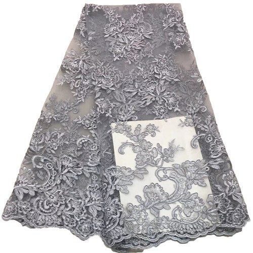 2018 high quality nigerian french lace embroidered tulle lace fabric for wedding dress,Russia African lace fabric 5yards/lotF195