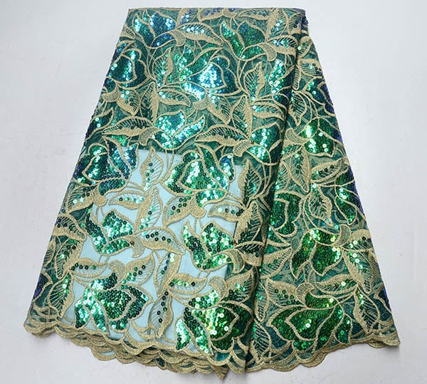 2019 Newest Nigerian Wedding Organza Lace Fabric High Quality African Lace Fabric In Switzerland Swiss Voile Lace In Green Color
