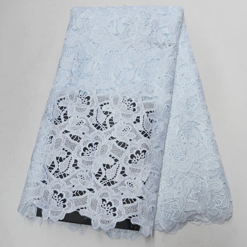 Image of white african lace fabric High quality 2018 cord lace,guipure lace fabric with beads and stones water soluble lace fabric AD990