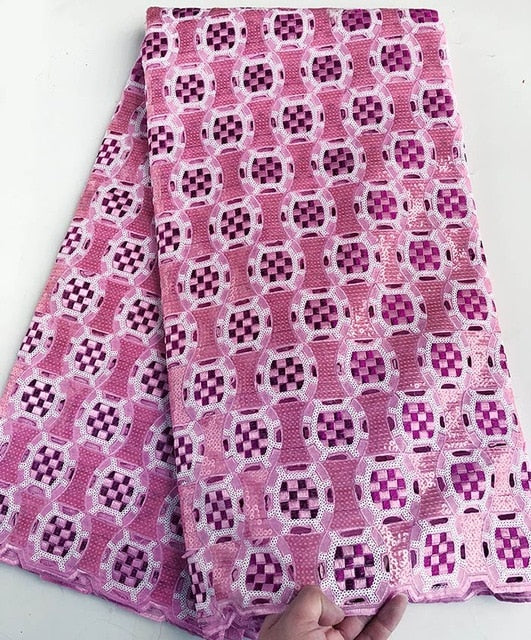 5 yards full embroidery African Handcut Organza lace fabric with lots of sequins shine beautiful