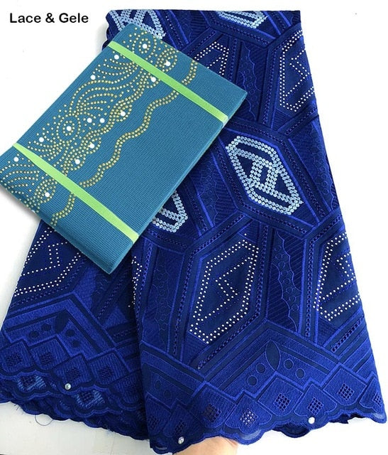 Geometric patterns embroidery African Swiss Voile lace fabric cotton 100% matching Aso Oke gele Headtie sold together