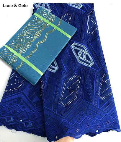 Image of Geometric patterns embroidery African Swiss Voile lace fabric cotton 100% matching Aso Oke gele Headtie sold together