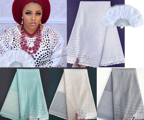 Image of plain white allover eyelet holes embroidery African Swiss lace voile fabric cotton 100% soft high quality 5 yards/ pc