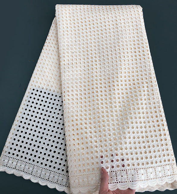plain white allover eyelet holes embroidery African Swiss lace voile fabric cotton 100% soft high quality 5 yards/ pc