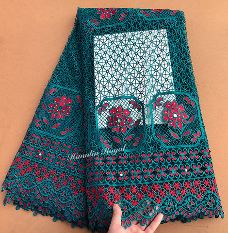 Image of 5 yards guipure lace African cord lace fabric High quality with stones beads hot sale