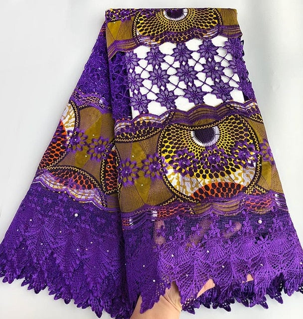 Veritable super wax hollandais 100% embroidery African Guipure Lace fabric high quality 5 yards per piece