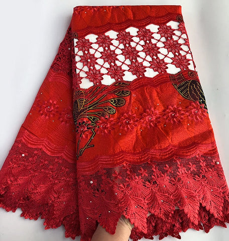 Image of Veritable super wax hollandais 100% embroidery African Guipure Lace fabric high quality 5 yards per piece