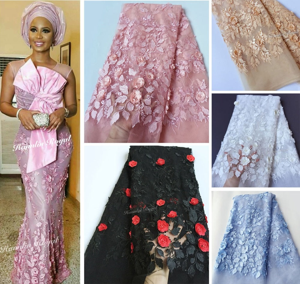 soft 3d french lace Nigerian mesh lace African sewing fabric with beautiful appliques beads 5 yards per piece wise choice