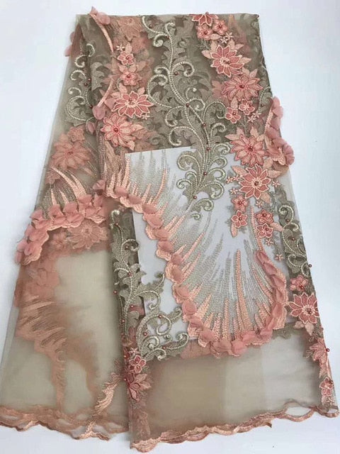 beautiful classic African french tulle lace fabric Nigerian wedding lace with orderly Appliques beads 5 yards per piece