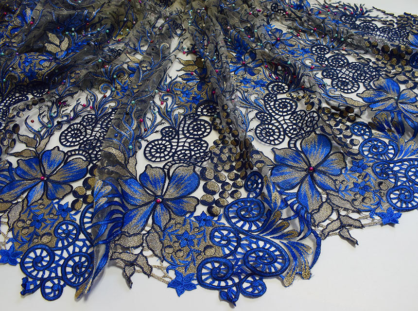 Royal blue Gold classic big french Lace sewing fabric with lots of beads stones 5 yards per piece Hot sale