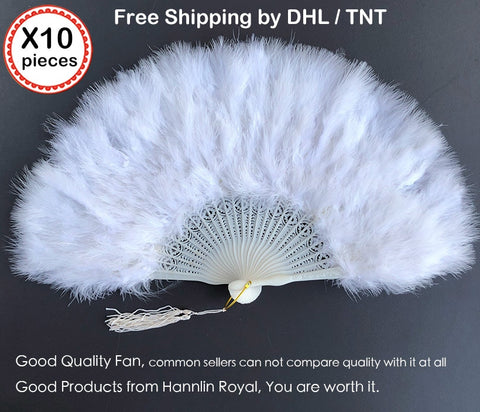 Image of 10 pieces per Lot fluffy feather African hand folding Lady fan rocking Dance Fans for Party Ball High Quality DHL free shipping