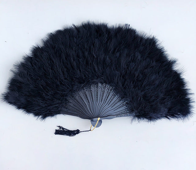 10 pieces per Lot fluffy feather African hand folding Lady fan rocking Dance Fans for Party Ball High Quality DHL free shipping