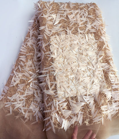 Image of glittering Champagne gold tulle lace African french lace fabric 5 yards per piece with allover long sequins hot sale