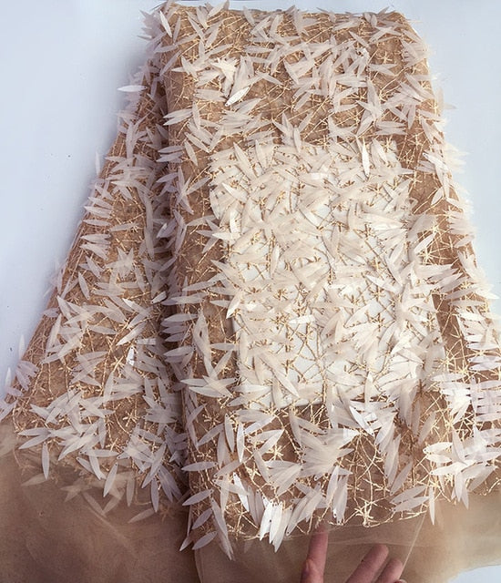 glittering Champagne gold tulle lace African french lace fabric 5 yards per piece with allover long sequins hot sale