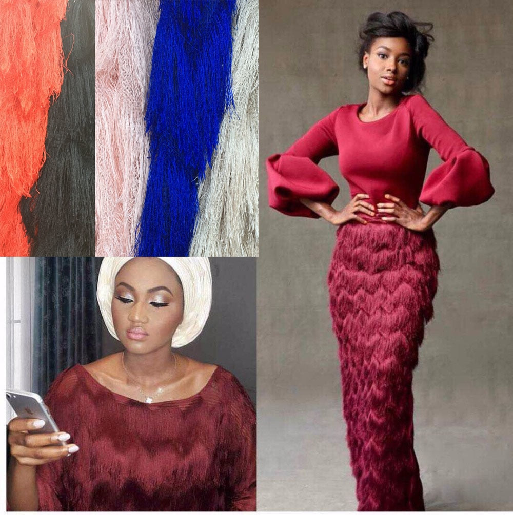 2018 Latest Nigerian Laces Fabrics High Quality African Laces Fabric For Wedding Dress French Tulle Lace With Tassel KW002A