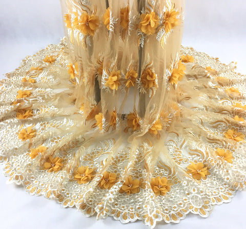 Image of 2019 New African Lace Fabric Yellow White High Quality 3D Flower French Net Wedding Nigeria Embroidered Party Dress KHX08