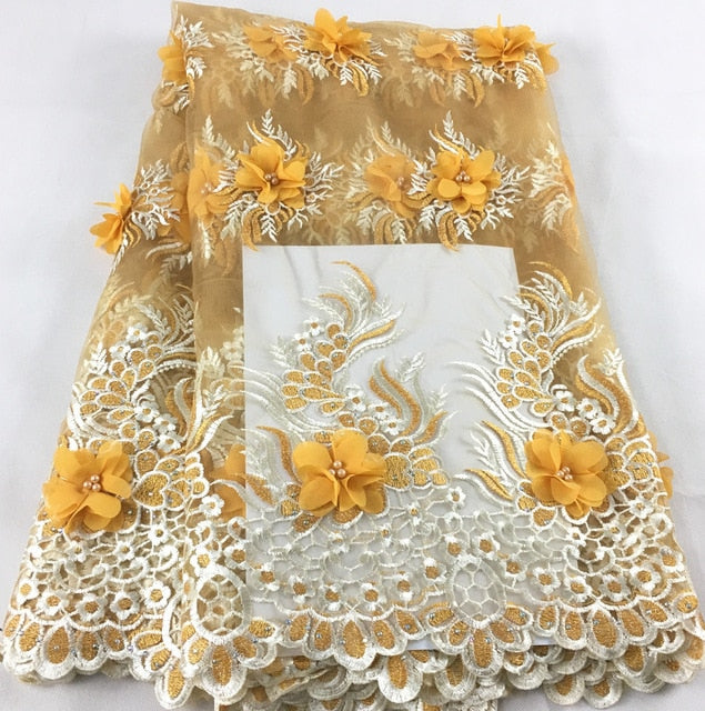 2019 New African Lace Fabric Yellow White High Quality 3D Flower French Net Wedding Nigeria Embroidered Party Dress KHX08