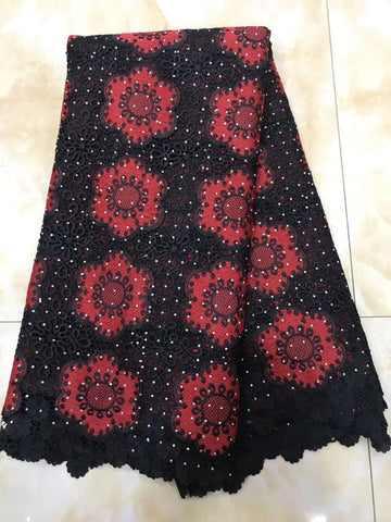 Image of New Design African Swiss Voile Lace High Quality African Guipure Lace Fabric With Stones Embroidered Lace Fabric For PartyYY902B