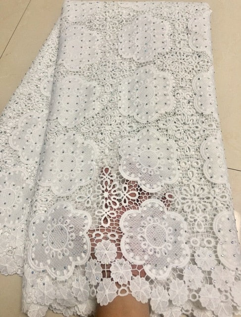 Wholesale Embroidery Guipure Cord Lace Fabric High Quality African Lace Fabric 2018 Latest Water soluble Stones For Party KYY902