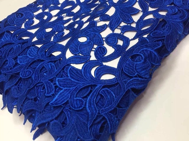 2017 New Embroidery Design African Net Lace Fabric Royal Blue, Yellow Mesh Tulle Lace, Nigerian French Guipure Cord Lace K-R650B