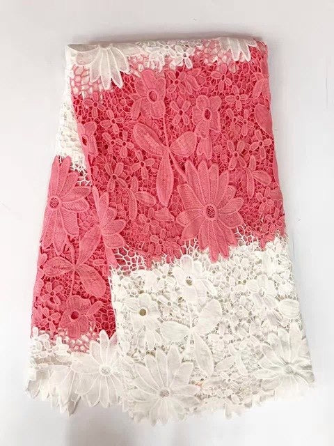 High quality nigerian wedding african lace fabric/ guipure cord lace fabric for wedding party in peach color 5yards/lot k-JA1112