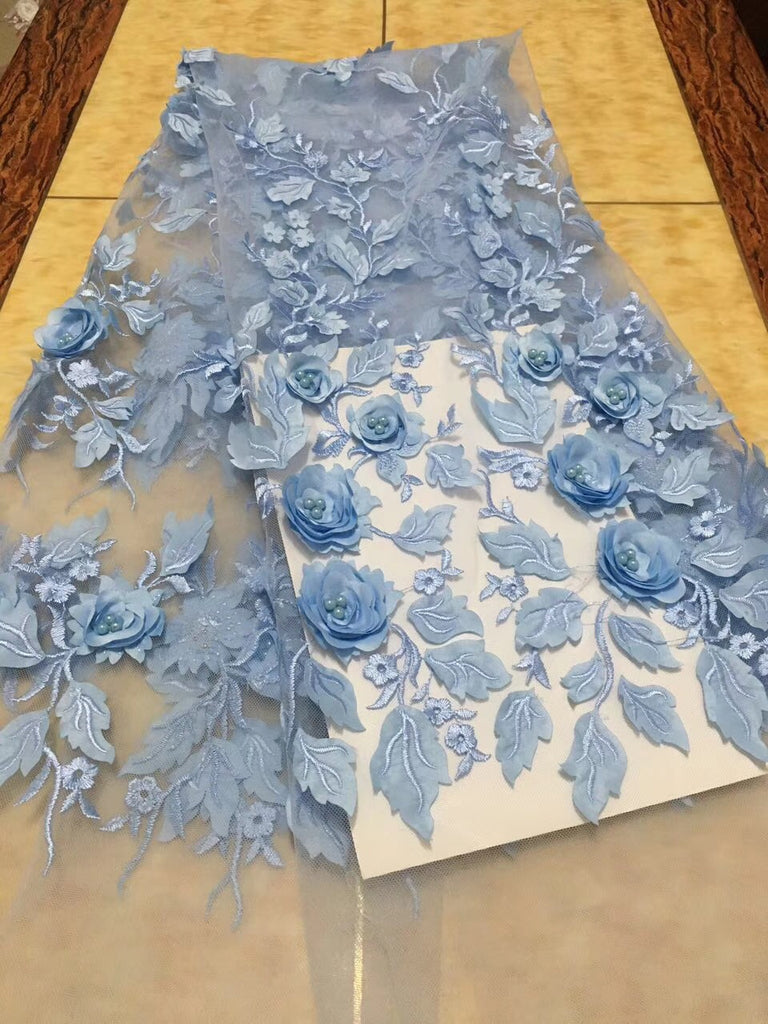 Latest Light Blue Tulle Lace Fabric High Quality 3d Rose Flower Fashion Fabric With Beads 3d Embroidery French lace Fabrics 2093
