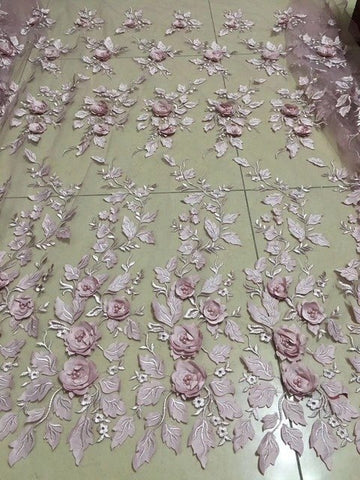 Image of Latest Light Blue Tulle Lace Fabric High Quality 3d Rose Flower Fashion Fabric With Beads 3d Embroidery French lace Fabrics 2093