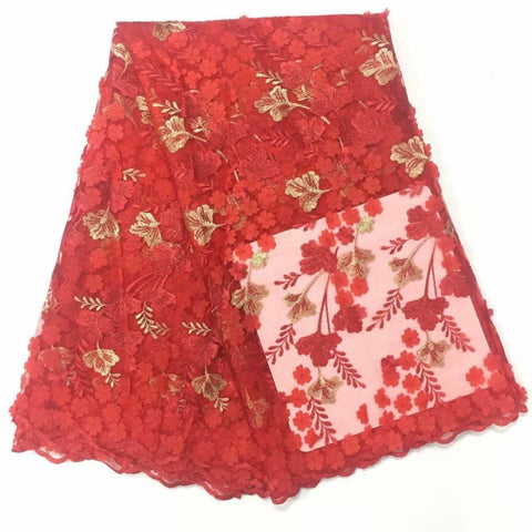 Image of Red Net Lace Fabric With Beads, Africa Lace High Quality Lace 3D Applique Design Flower Nigerian Lace Purple 5 Yards
