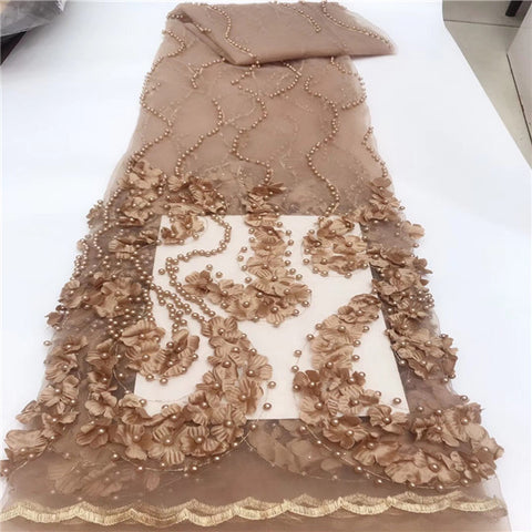 Image of New Design 3D Flowers Beaded Applique Lace Fabric High Quality African Lace 2019 Noble Handmade 3D Lace Fabric For Nigerian Dres