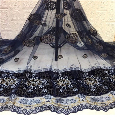 Image of 5Yards High quality Nigerian Lace fabric french net lace New Design african lace fabric with Stones for wedding dress HX1338-1