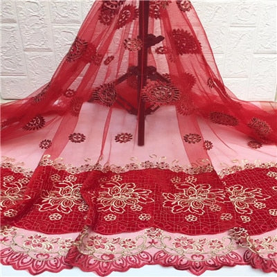 5Yards High quality Nigerian Lace fabric french net lace New Design african lace fabric with Stones for wedding dress HX1338-1