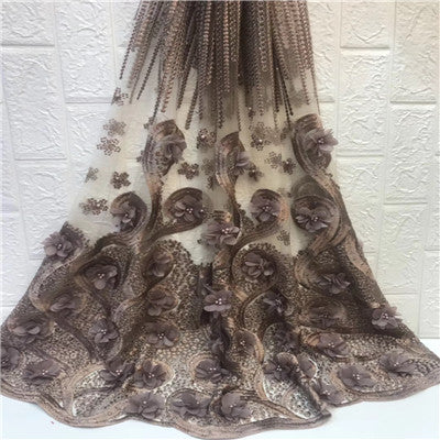 HFX Most Popular African Embroidered 3d Flowers Net Lace High Quality French Lace Fabric Nigerian Lace Fabrics for Wedding X1369