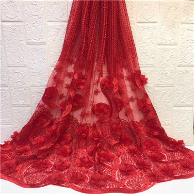 Image of HFX Most Popular African Embroidered 3d Flowers Net Lace High Quality French Lace Fabric Nigerian Lace Fabrics for Wedding X1369