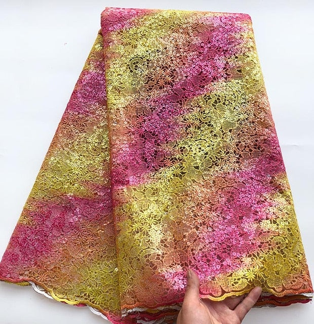 Upscale Multicolors Sequins french lace tulle lace African lace fabric unique big for important occasions 5 yards /pc