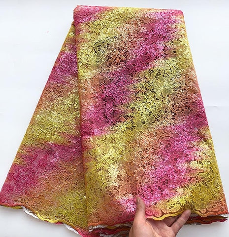 Image of Upscale Multicolors Sequins french lace tulle lace African lace fabric unique big for important occasions 5 yards /pc