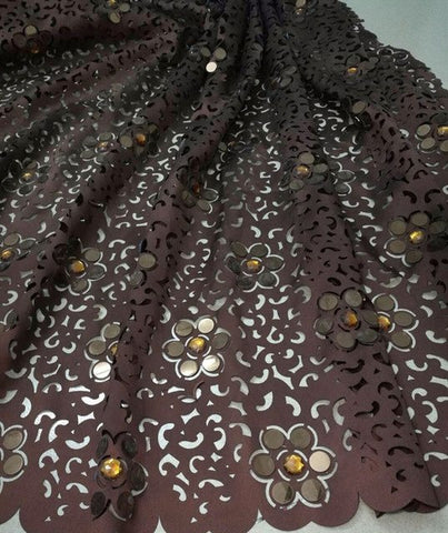 Image of High Quality African Lace Fabric For Wedding Royal Blue French laser cut lace with big stones and sequins quality 5 yards