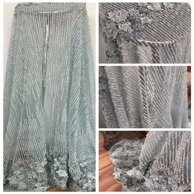 Image of African Lace Fabric 2018 High Quality Lace 3D Flower Lace Fabric Beautiful Applique Beads Lace For Nigerian Wedding Dress F889-1