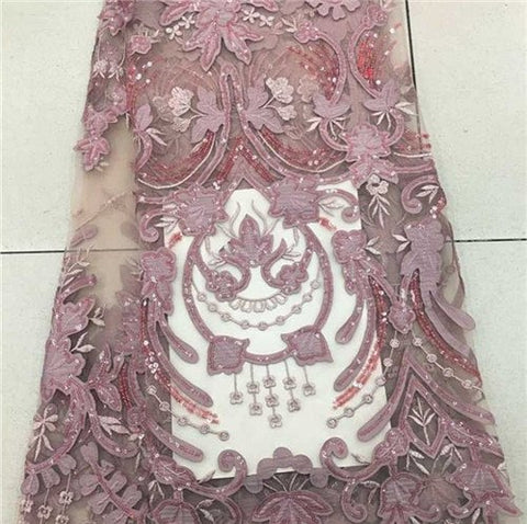 Image of African Lace Fabric 2018 High Quality African Tulle Lace Fabric With Velvet French Net Lace For Women Dress New
