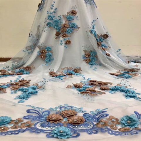 Image of African Lace Fabric 2018 High Quality Lace 3D Flower Lace Fabric Beautiful Applique Stones Lace For Nigerian Wedding Dress F1081