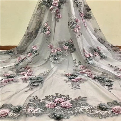 African Lace Fabric 2018 High Quality Lace 3D Flower Lace Fabric Beautiful Applique Stones Lace For Nigerian Wedding Dress F1081