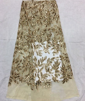 Image of Latest Style Beaded sequins Fashion African Lace Fabric 3D Tulle African French Lace Fabric High Quality for wedding dress.